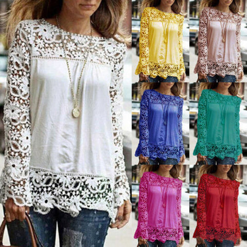 Women's Fashion Long Sleeve Chiffon Embroidery Lace Crochet Tee Shirt Tops S-5XL