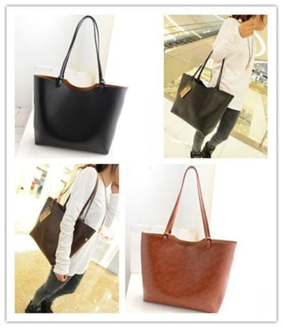 33cmx30cm Casual Shoulder Bags Women's Faux Leather Handbag Shopping Bags