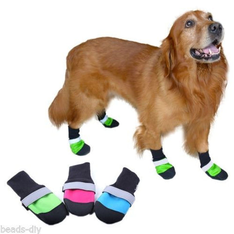 BD 4pcs/set Pet Dog Shoes Ultra-Wear Oxford Fabric Large Dog Boots Non-slip