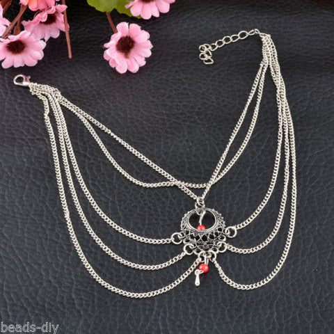 BD Women Retro Silver Red Beads Multi-layers Anklets Feet Chain Bangle Jewelry