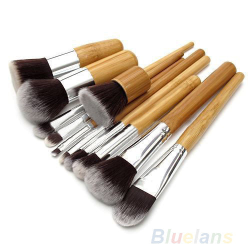 11Pcs Wood Handle Makeup Cosmetic Eyeshadow Foundation Concealer Brush Set brushes