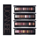 UCANBE 10 Colors Professional Eyeshadow Matte Shimmer Palette with brush Makeup Kit