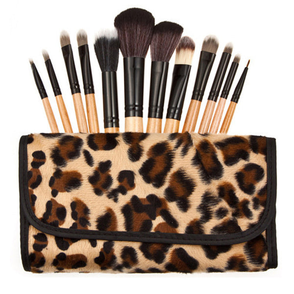 1set Professional 12 pcs Makeup Brush Set tools Make-up Toiletry Kit Wool Brand Make Up Brush Set Case