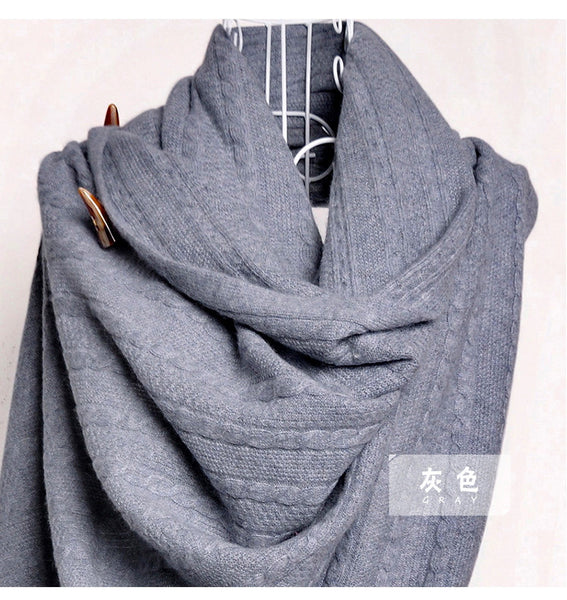100% Cashmere  Mongolia Warm shawl Twist plait Thickening Oversized scarf horn Buttom