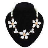 New Arrived fashion fine pearl jewelry enamel alloy flower chorkers beaded necklaces
