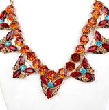 New Arrived vintage jewelry colares longos big triangle necklace Colorful ruby jewelry gem long statement necklace