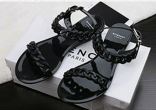 Beach shoes candy jelly sandals chain flat Flip Flops women sandals