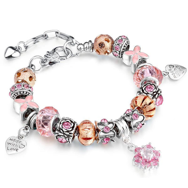 4 Colors Silver Plated Bracelet with European Charms Crystal Sapphire DIY Bracelets Women Jewelry 19+3cm