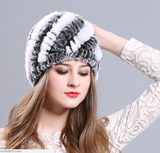 100% Genuine Rex rabbit fur hat winter women knitting hat