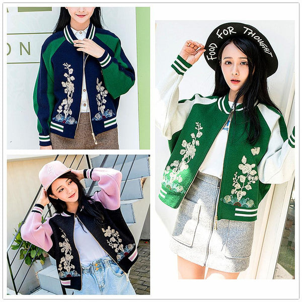 2017 knitted sweater women loose coats zipper cardigan outerwear jacket embroidery autumn