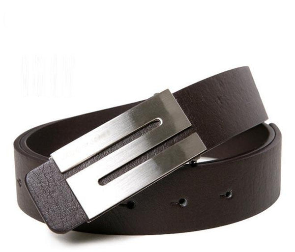 New Men Fashion Belt High Quality Genuine Cow Skin Leather Button Metal Buckle 3 Colors Gentalman's All-match