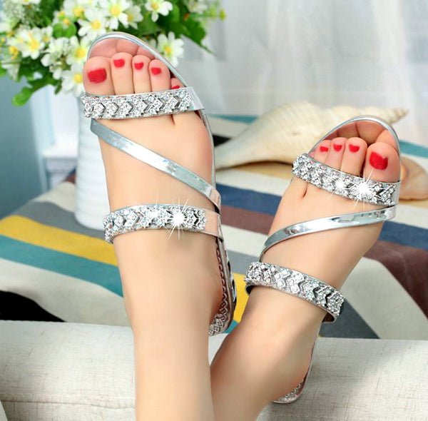 2017 Bling Platform Sandals Crystal Summer Casual Flip Flops Women Slippers
