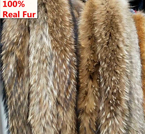100% Genuine raccoon fur collar winter scaves 70-80cm