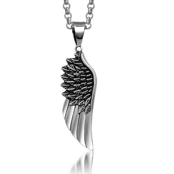 Angel Wings feather pendants titanium steel pendant necklace jewelry wild Titanium steel jewelry Contain chains SP203
