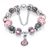 Silver Original Glass Bead Bracelet for Women Safety Jewelry PA1836