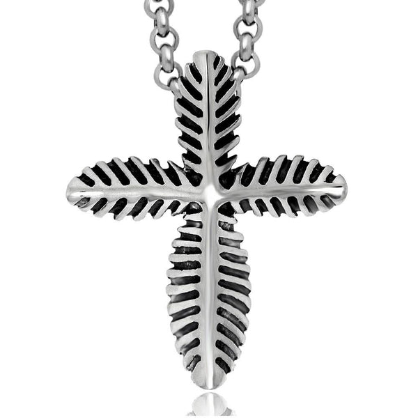 Cool Summer Cross leaf shaped pendant give you a different experience including chain SP009