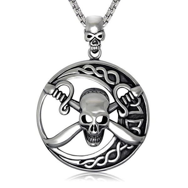 Domineering under the moon double knife man Skull Pendant containing chain SP430