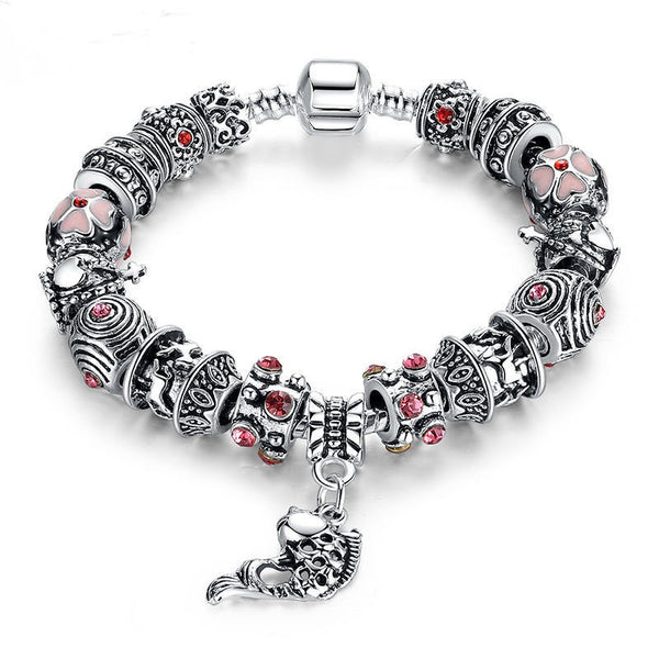 Coolest Ethnic Pandora Bracelet 925 Tibetan Silver Glass For Women Fashion Jewelry PA1236