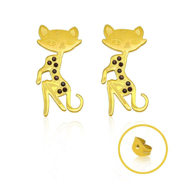 Free 18k Gold Fashion Jewelry Kitten styled rose gold earrings Titanium steel jewelry CF081