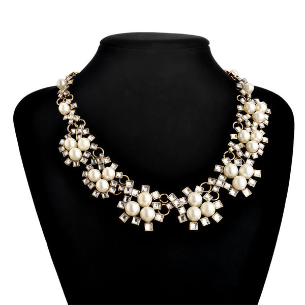 Fashion vintage za Brand jewelry new Shourouk Luxury flower Simulated-pearl Statement necklace for women