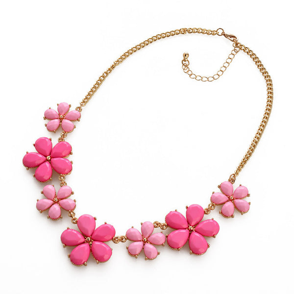 Hot Sell Sun Flower Choker Necklace Sweet Pink Colorful Glod Chain Statement Necklaces & Pendants