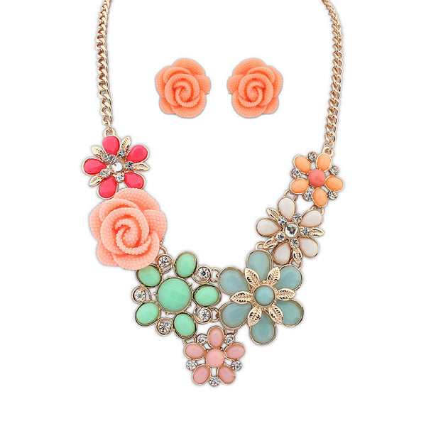 NEW Fashion wedding jewelry sets for Women 2015 Statement boho Bright Flower Long Vintage Necklace/Earrings jewelry sets