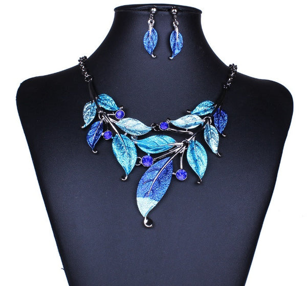 New Arrival Fashion Jewelry For Women Chunky Statement Stray Leaves Necklace Purple Blue Gray