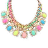 New Fashion colar sapphire jewelry Rope Chain chunky necklace luxury neon color statement necklace for women Rhinestone collier