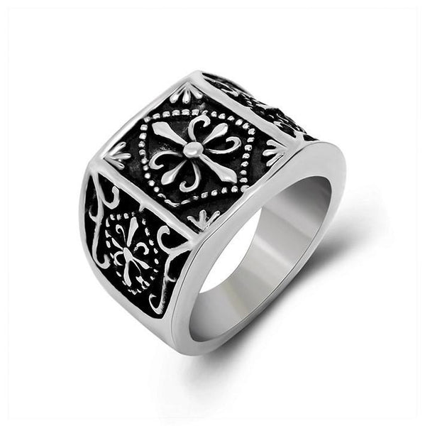 Personality restoring ancient wide male ring three face numerous ancient decorative pattern adorn article SA372