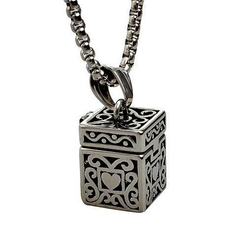 "Cremation Urn Ash Holder Necklaces Jewelry Ashes Memorial Pendant 24"" chain"