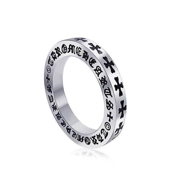 Retro cross pattern titanium steel ring personality and men s and women s accessories SA348