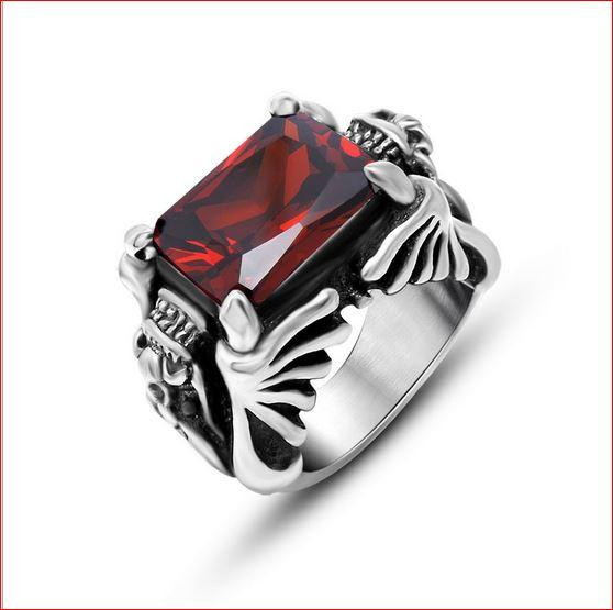 Both sides of the bibcock modelling red agate rings SA750 lovers romantic fashion titanium steel ring