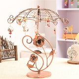 Vintage Jewelry Display Stand Copper Color Metal Rotating Necklace Pendant Holder Removable Earrings Frame