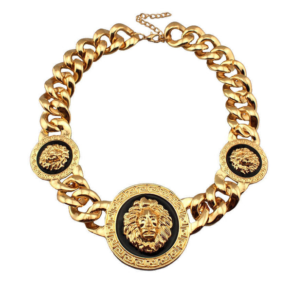 Women Fashion Accessories Three Lion Head Chunky Chain Statement Necklace Designer Rihanna Celebrity Jewelry