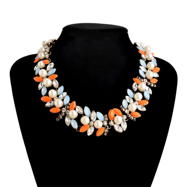 Za Pearls Necklace for Womens colar Vintage flower Chokers chunky Necklace Fashion shourouk Brand Charms statement Jewelry