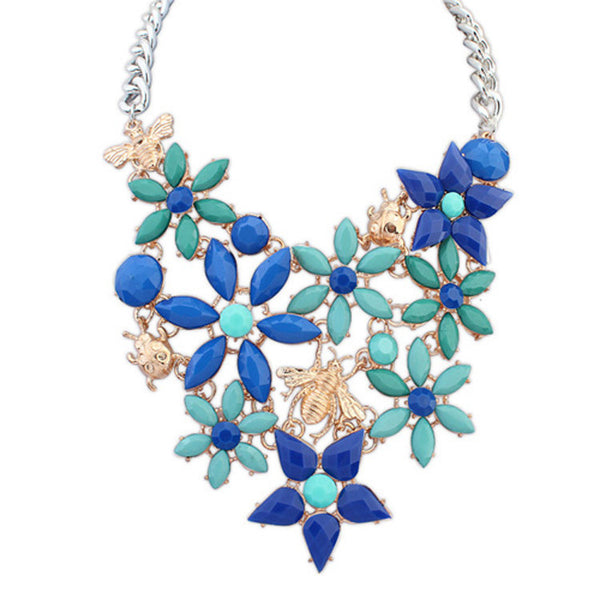 Fashion jewelry animal flower colorful statement necklace alloy pendant chorkers necklace for women