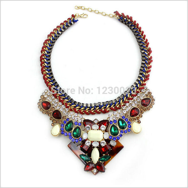 new design brand za style jewelry Vintage statement layered necklace Fashion Crystal choker necklace
