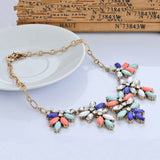 New design jewelry Vintage Colorful Flower statement choker necklace for women