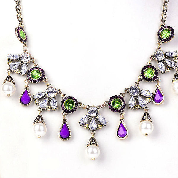 New fashion women fine costume indian jewelry vintage pearl Water Drop flowers Imitation Gemstone pendant necklace