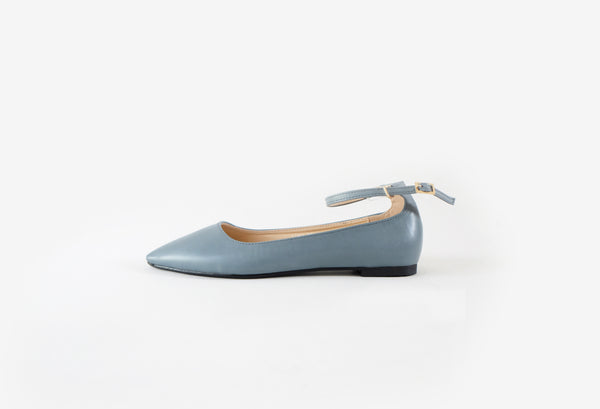 Luna - Pointy Flats with Ankle Strap - Blue