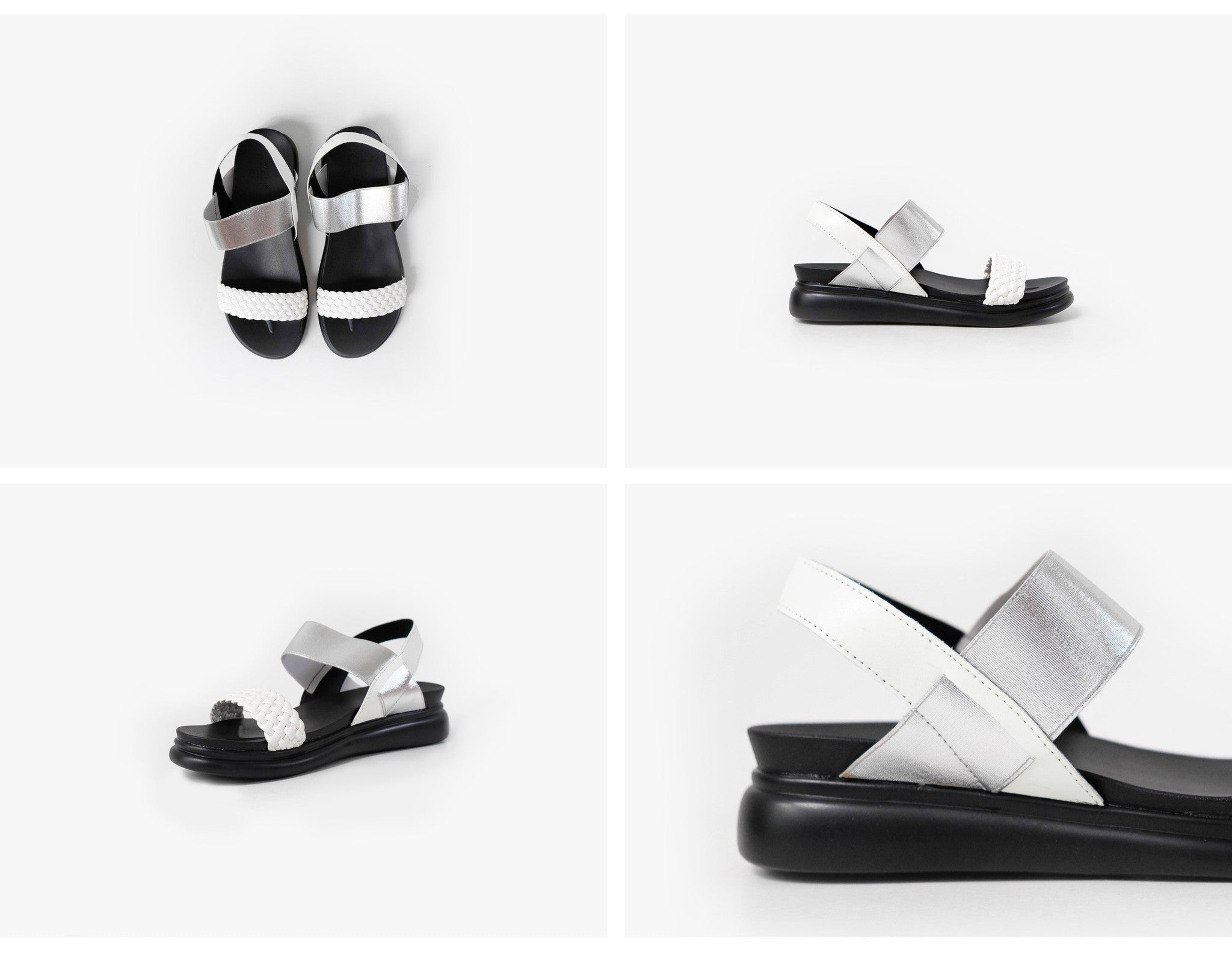 Cali Metallic Strap Sandals White