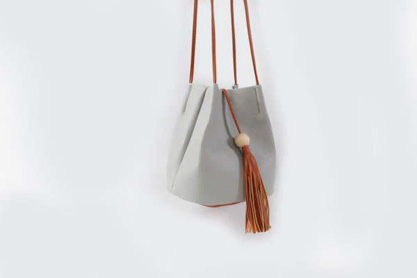 Camille Tassel Bucket Bag Grey