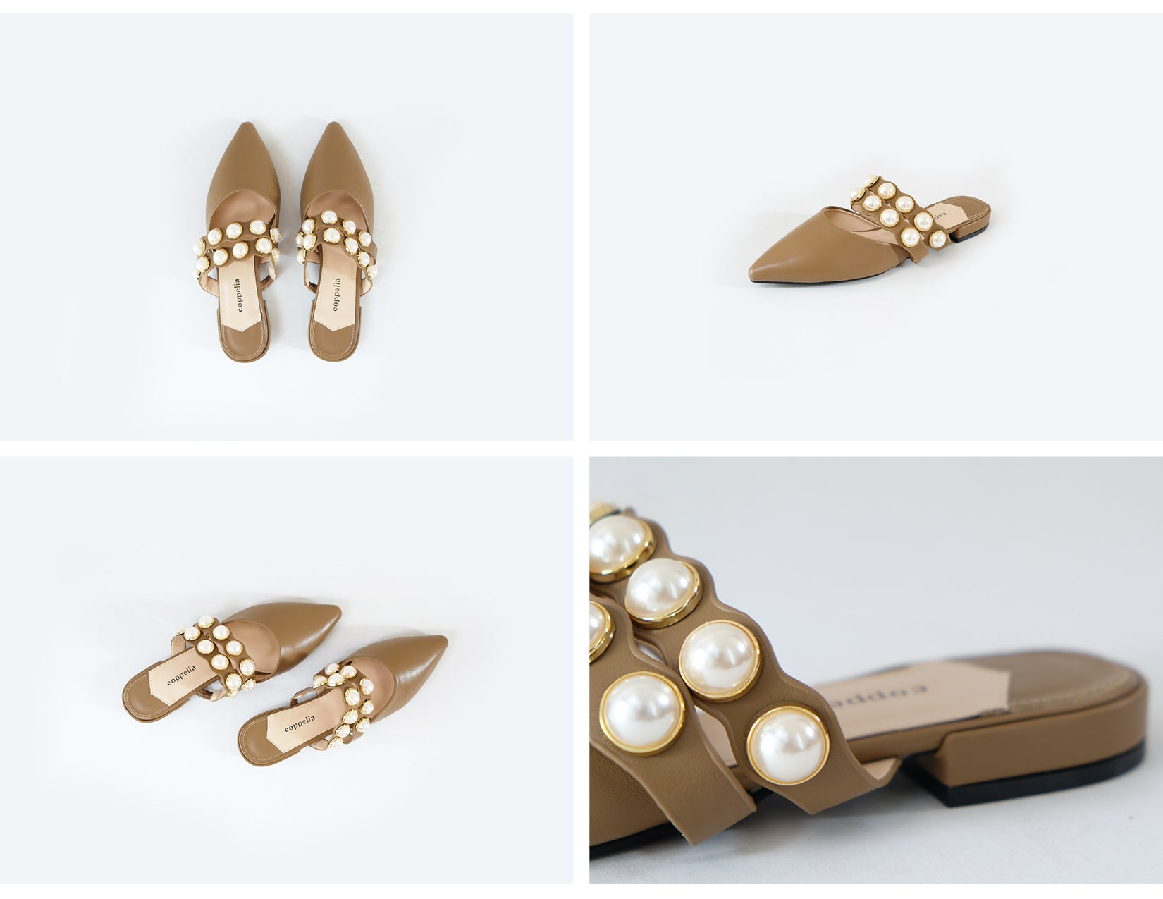 Demi - Pearl Pointy Mules - Tan