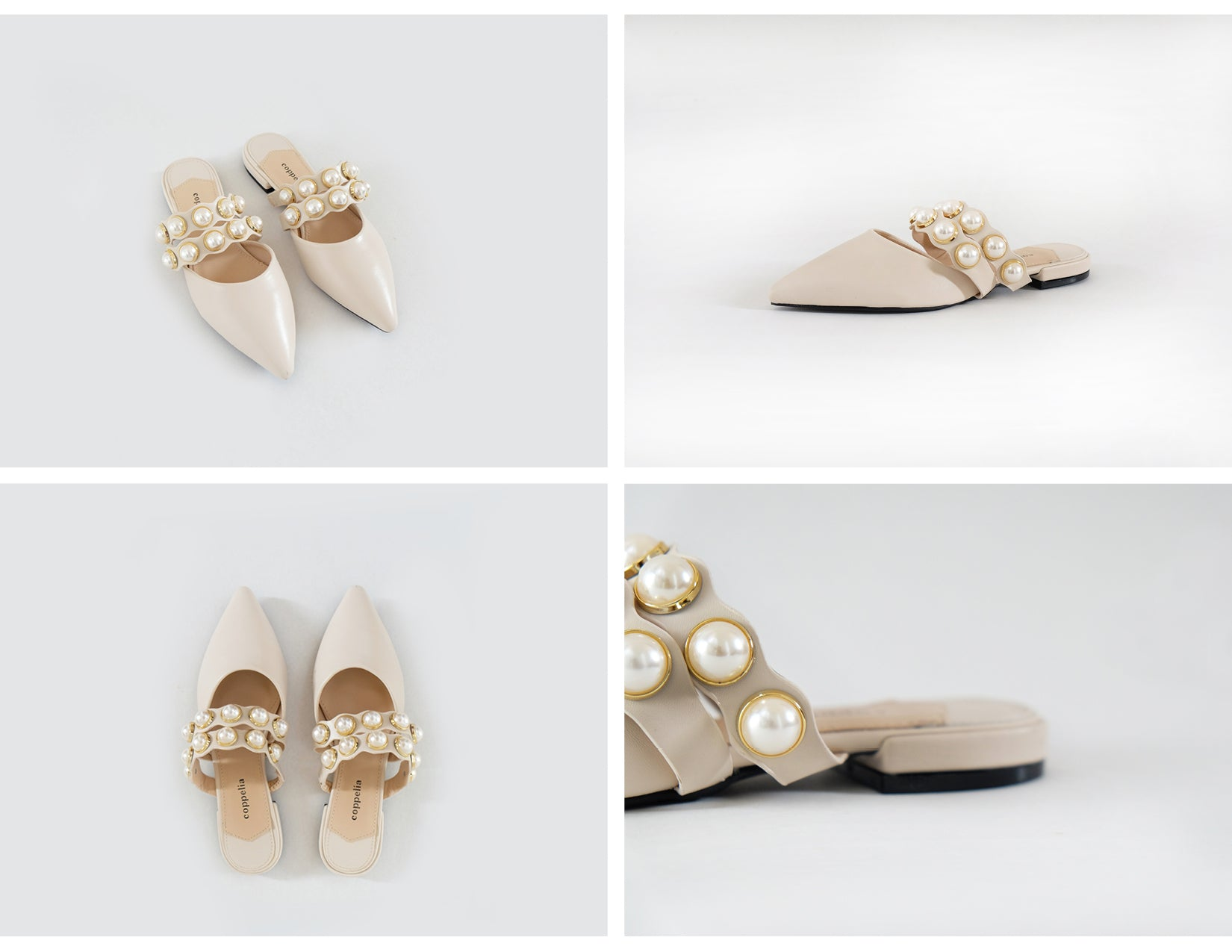 Demi - Pearl Pointy Mules - White