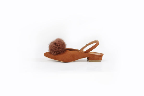 Jenna Pom-Pom Flats Brown/Tan