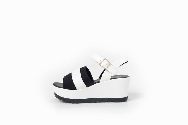 Gigi Open-Toe Platforms White