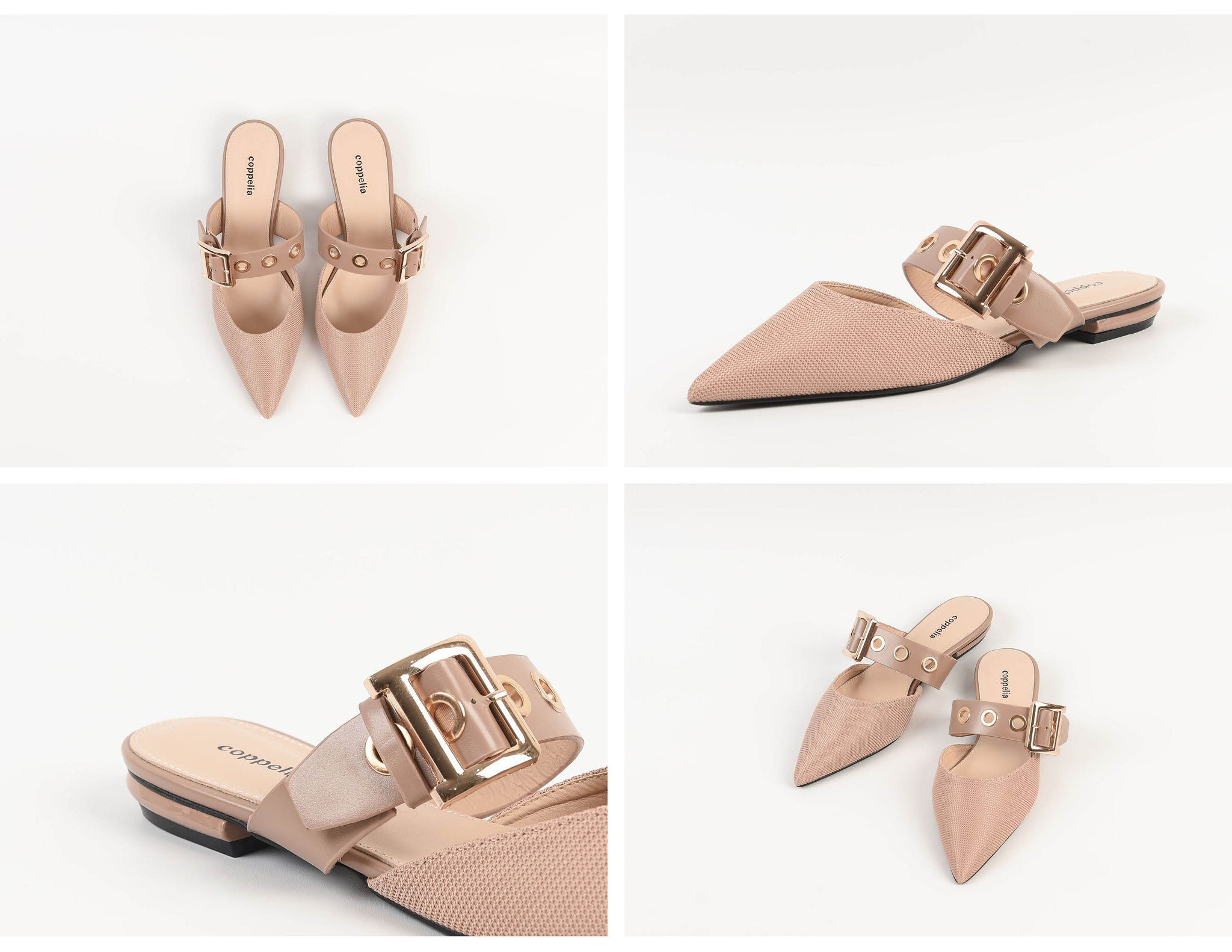 Rooney Buckle Mules Blush