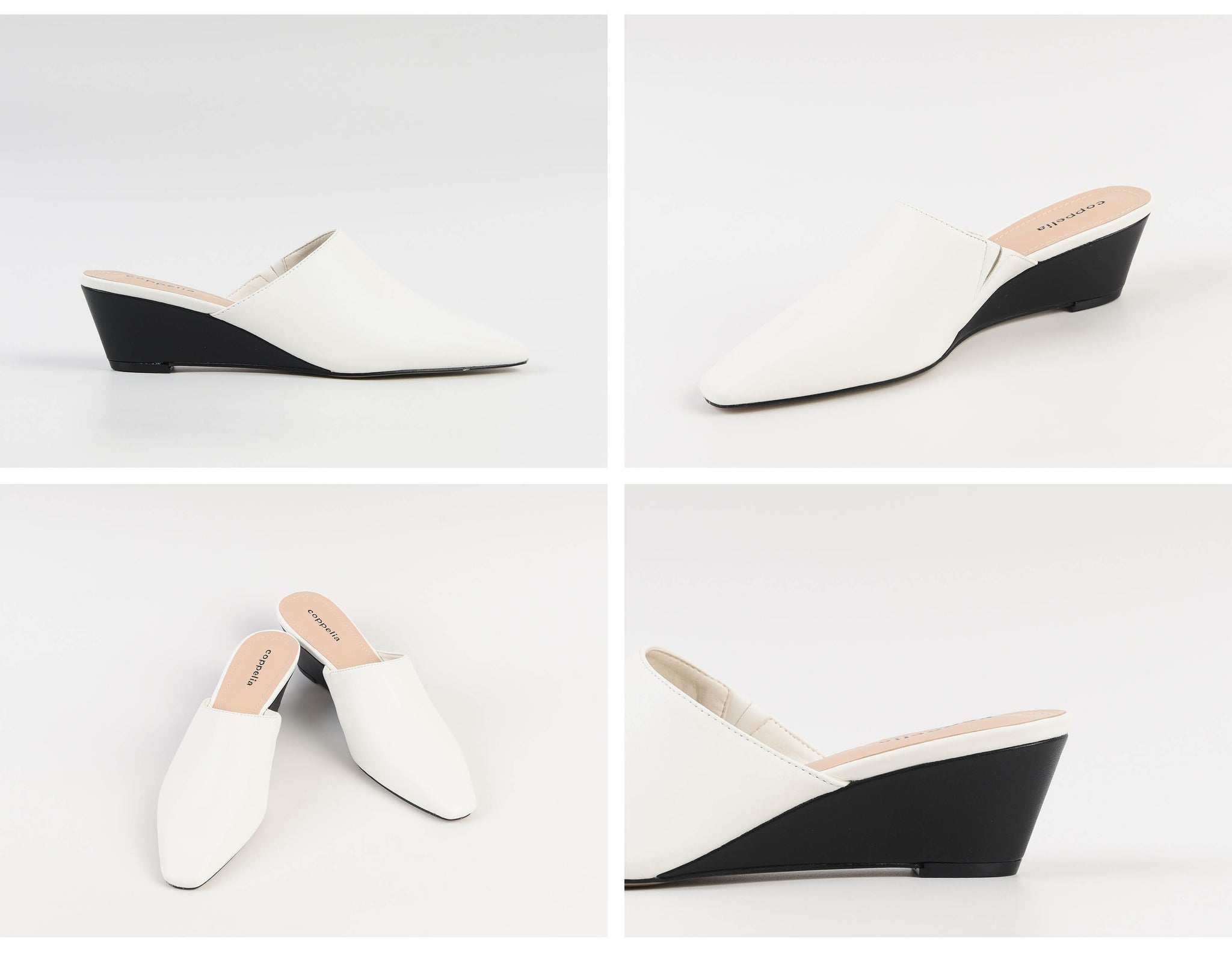 Willa Wedges Mules White