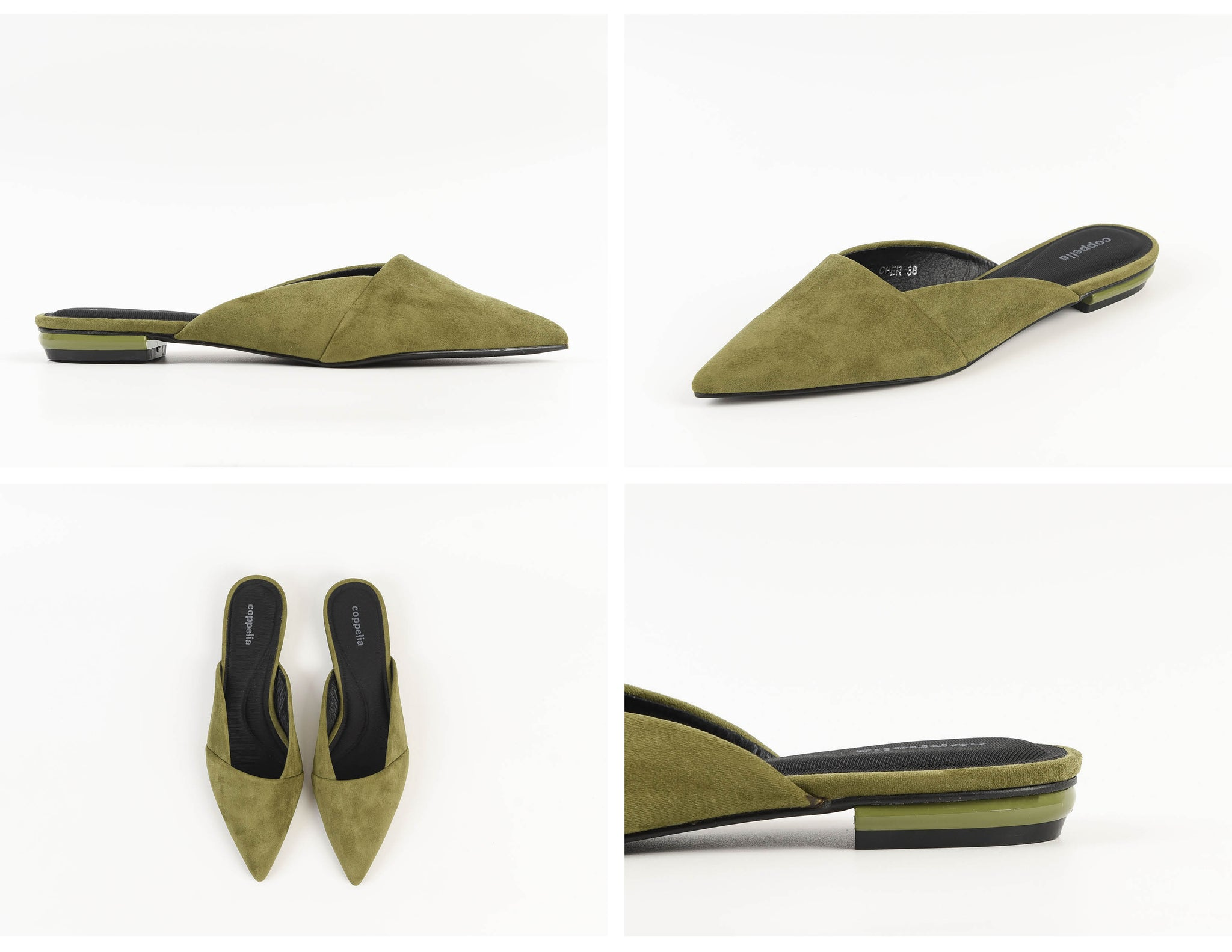 Cher Suede Flat Mules Olive