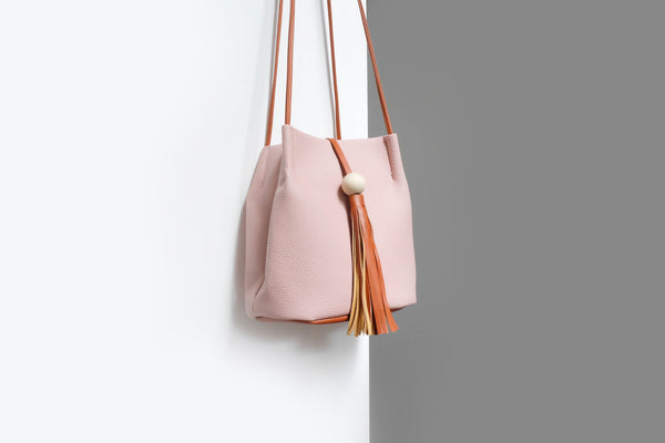 Camille Tassel Bucket Bag Pink